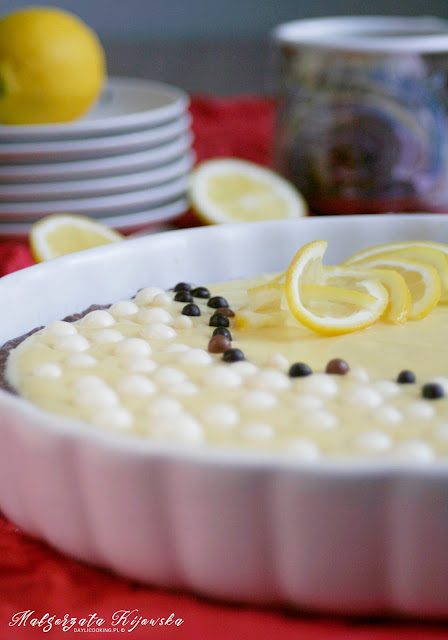 czekoladowa tarta, ciasto z domowym kremem cytrynowym, daylicooking, Małgorzata Kijowska