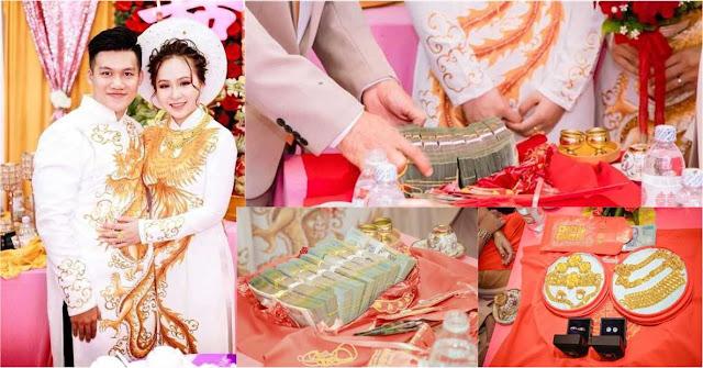 Chân dung chú rể đem gần 1 tỷ tiền mặt, 'khuyến mại' thêm 13 cây vàng cho nhà gái
