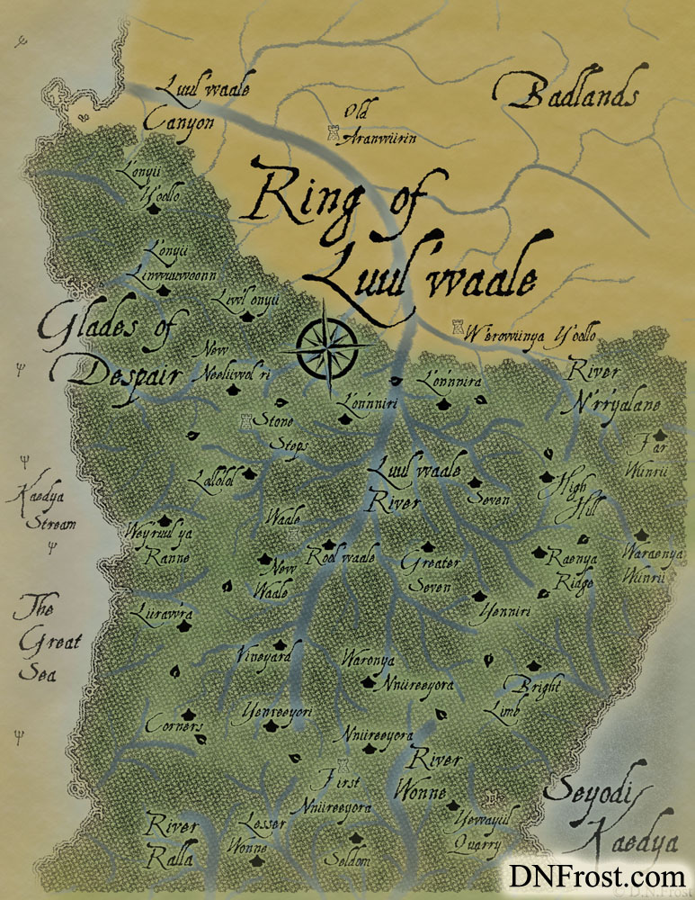 The Ring of Luul'waale: nomadic routes of northern nymph clans www.DNFrost.com/maps #TotKW A map for Broken by D.N.Frost @DNFrost13 Part of a series.