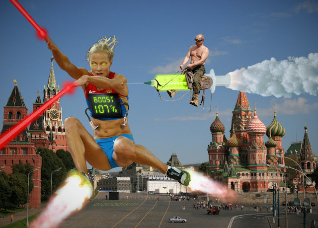Red Square: Putin rides a rocket syringe filled with glowing fluid. The needle is inserted into the arm of transhuman Russian athlete (Дарья Клишина) in an action pose. The athlete has glowing yellow eyes, rocket powered feet, and lasers shooting from hands. Tubes are plugged into the stomach and are connected to a display on their chest. The display reads: 'BOOST 107%'