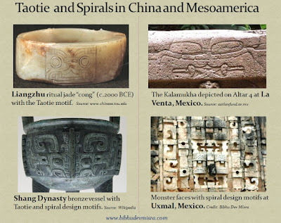 The Taotie motif on Chinese jade artifacts resembles the Kalamukha found in Olmec and Hindu art, while Chinese spiral design motifs on Shang Dynasty artifacts resembles the spiral designs at Mayan sites such as Uxmal, Mexico