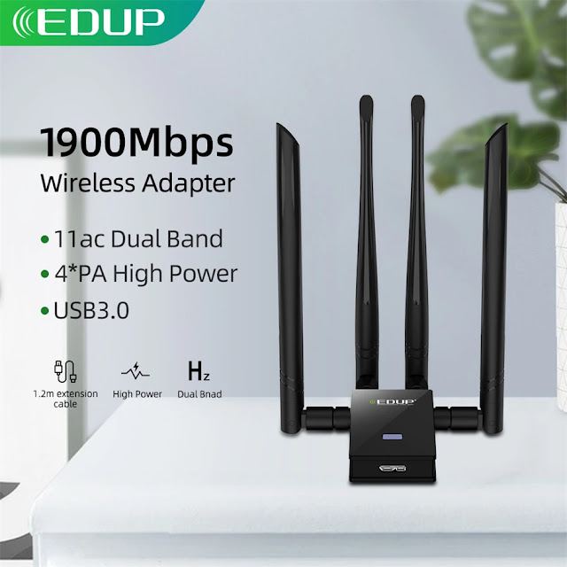 EDUP 1900Mbps USB WiFi Adapter USB 3.0/2.0 Network Card Receiver Dual Band 2.4G/5Ghz 4*6dbi Antennas for Laptop Desktop Computer