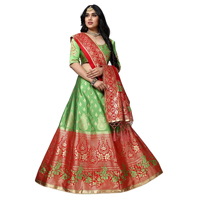 Women's Banarasi silk Jacquard lehenga choli (free size and semi-stitched)