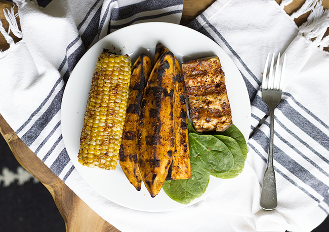 Mesquite Grilled Sweet Potato Wedges with Tofu and Corn