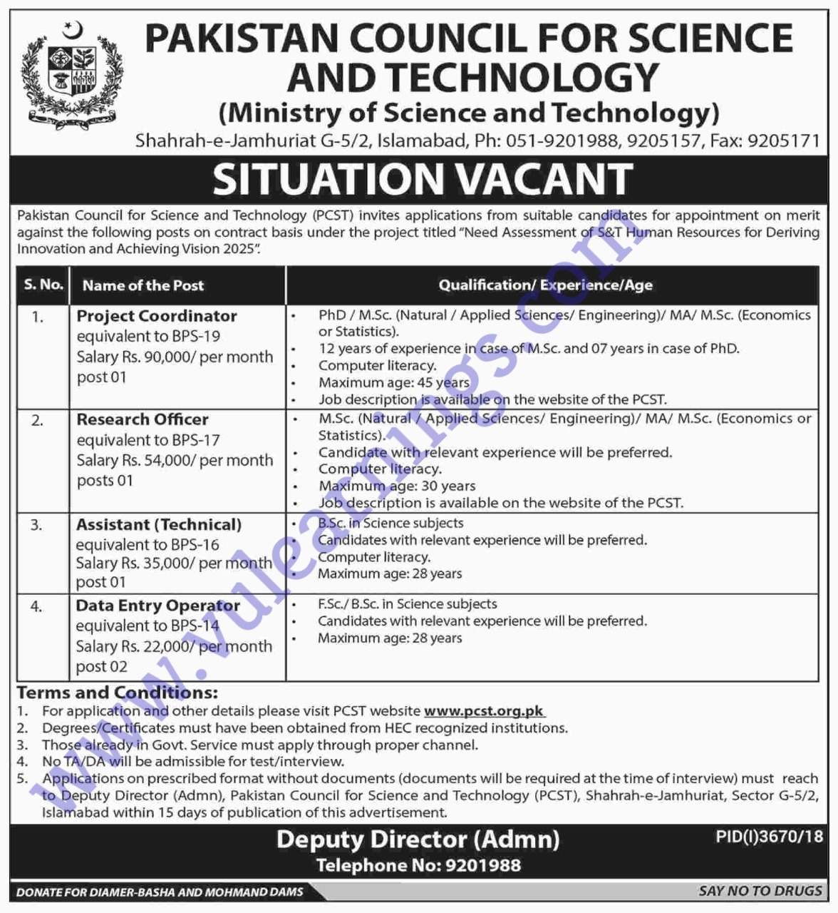 Job in Pakistan Council and Ministry Science and Technology
