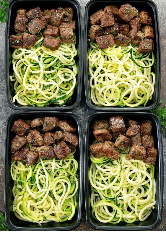 Garlic Butter Steak Bites With Zucchini Noodles Meal Prep