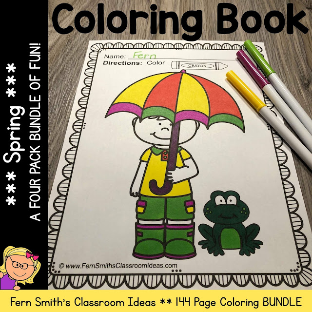 Spring Coloring Pages - 143 Pages of Spring Fun - Four Pack Coloring Book Bundle #FernSmithsClassroomIdeas