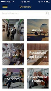 acceso a mapas,ubicación salas de espera,bandas asignadas para cada vuelo