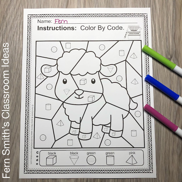 Color By Code Math Kindergarten Remediation Basic 3D Shapes Mary Had a Little Lamb