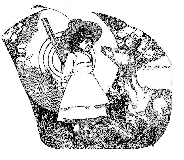 Carl Otto Czeschka 1902, a little girl with a rifle and a deer