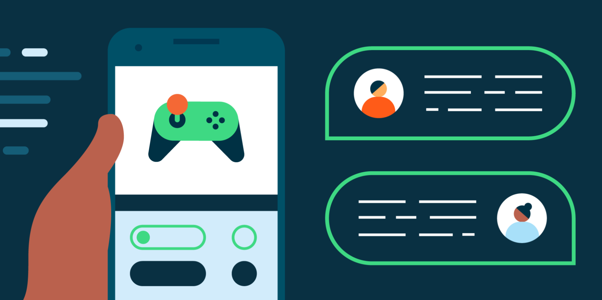 hand holding a phone with game and chat