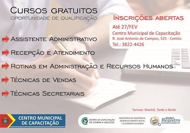 Centro Municipal de Capacitação abre inscrições para cursos voltados à área administrativa