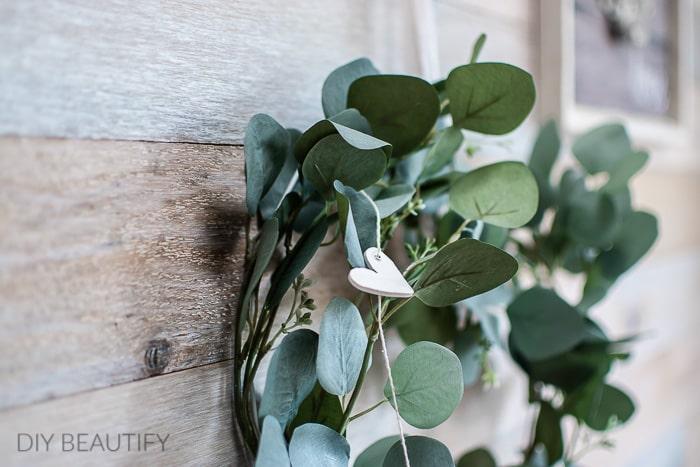 eucalyptus wreath with clay heart garland