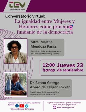 El TEV presenta… Conversatorio virtual: La igualdad entre hombres y mujeres