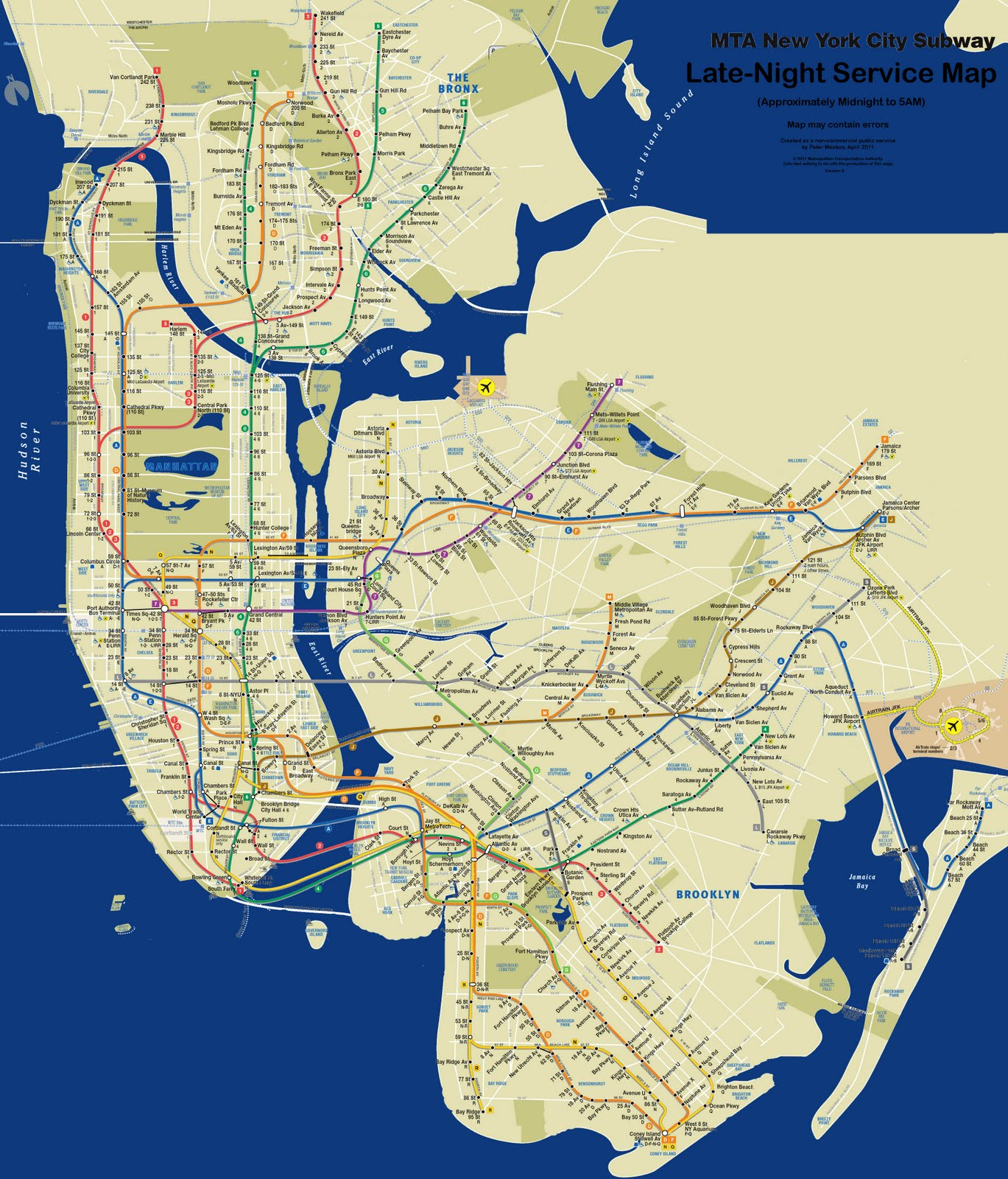 Map of the Day  Subway service at night   Second Ave  Sagas     An