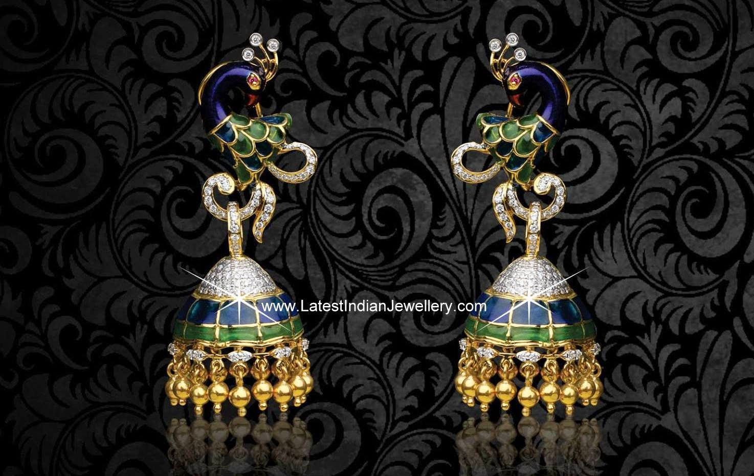 Enamel Colored Peacock Diamond Jhumkas