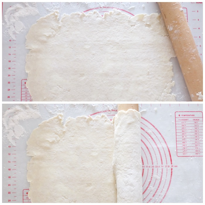 rolling out pie crust dough