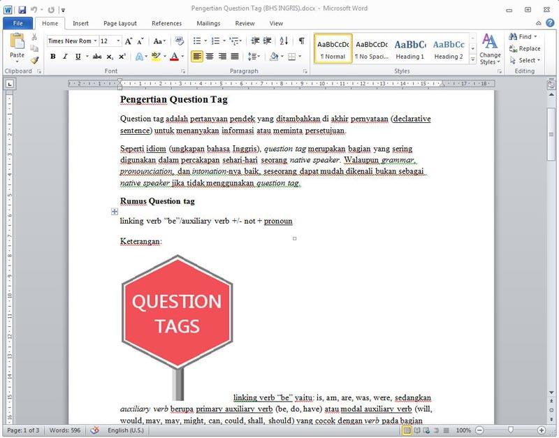 Contoh Kalimat dan Rumus Question Tag beserta Jawabanya