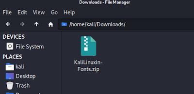 Kali Linux fonts zip file downloaded