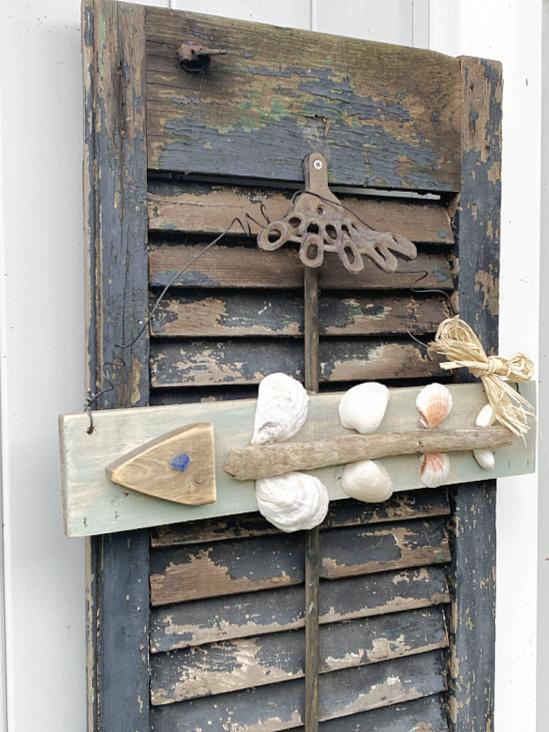 fish art on vintage shutter