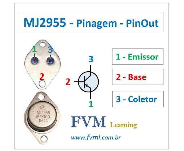 Pinagem - Pinout - Transistor - PNP - MJ2955 - Características