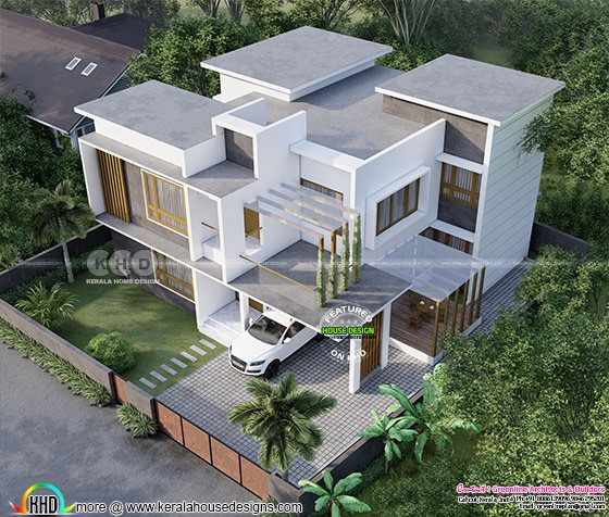 Drone view of a flat roof contemporary house in Kerala