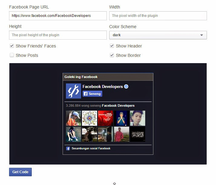 Cara Membuat Widget Like Box Fanspage Facebook Statis Pada Blog
