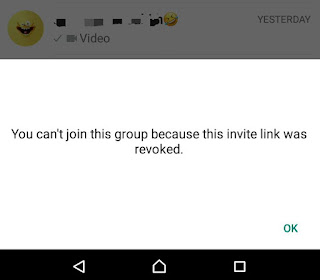 Invite link revoked error