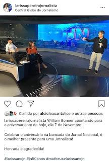 'PRESENTÃO': apresentadora Larissa Pereira comemora aniversário na bancada do Jornal Nacional