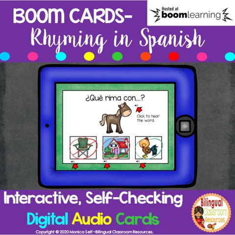 BOOM CARDS-Rhyming in Spanish