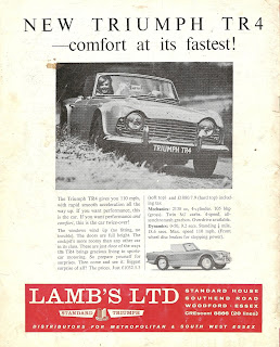 1962 Lamb's Ltd advert for the then new TR4