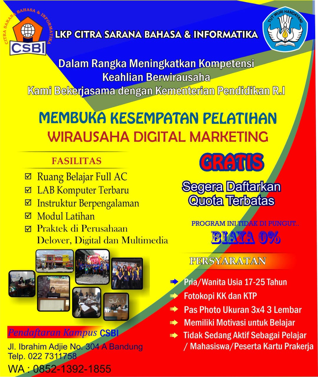 Pelatihan Wirausaha Digital Marketing Bandung Agustus 2021