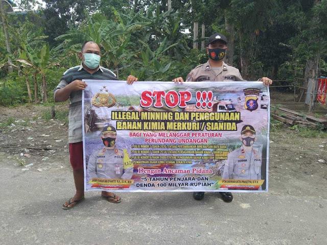 Personel Polsek Banama Tingang Himbau Masyarakat Untuk Tidak Melakukan Penambangan Ilegal Dan Gunakan Bahan Kimia Merkuri