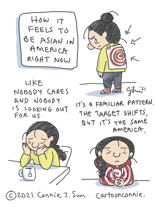 Sketchbook illustration about how it feels to be Asian in American when hate crimes are surging, diary comic, journal, drawing by Connie Sun, cartoonconnie