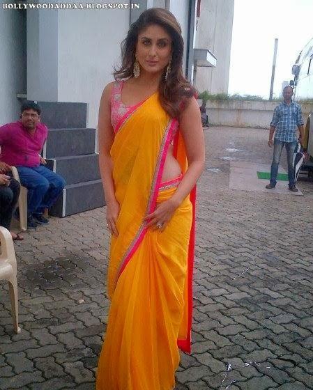 Kareena Kapoor In Orange Saree At Indian Idol 6
