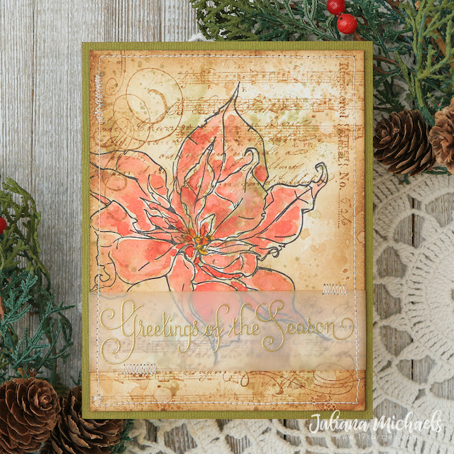 Season's Greetings Christmas Card by Juliana Michaels featuring Tim Holtz Poinsettia