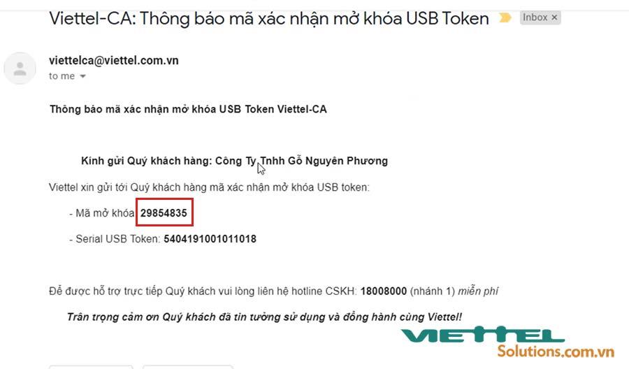 Hình 7 - Mã mở khóa USB token Viettel được gửi qua email