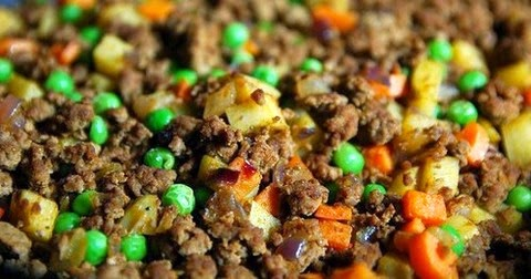 Minced Beef With Potatoes, Carrots And Peas