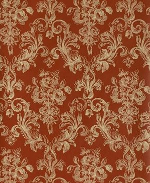 Deep Red Antique Damask Wallpaper  Vintage French Victorian Lacey Trellis moulin rouge bedroom decorating