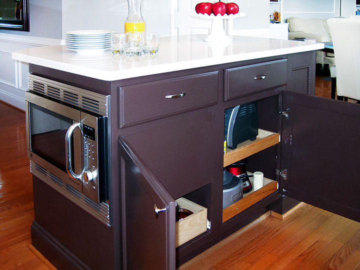 how to install a microwave inside kitchen island