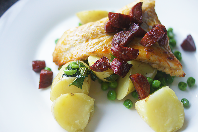 cod-chorizo-minted-peas-new-potatoes