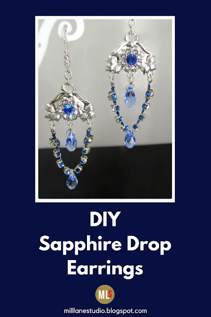 Sapphire and crystal chandelier earrings.