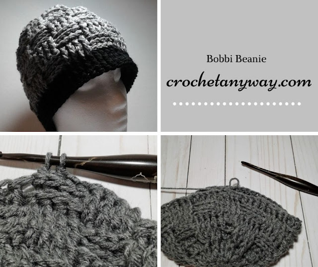 grey crochet hat basket weave in the round