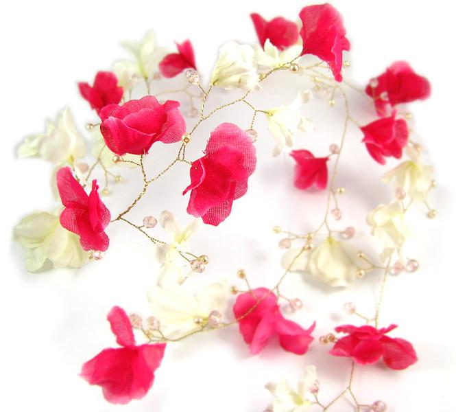 Wianek ślubny różowo kremowy - magnolie.