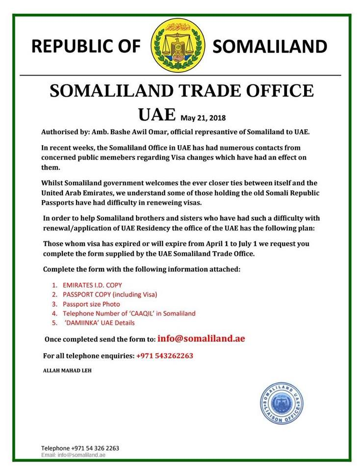 Uae To Renew Visas And Residence Permits For Somaliland Passport
