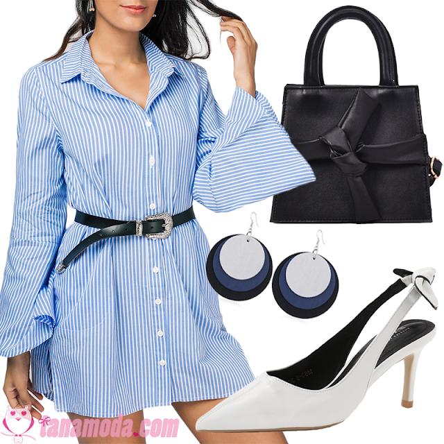 Look com vestido camisa azul.