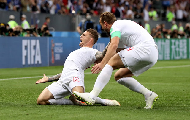 Kieran Tripper celebrates his goal for England against Croatia - Russia 2018 World Cup