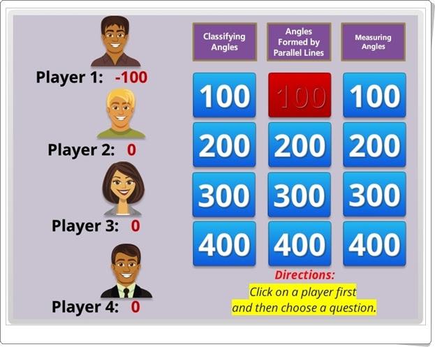 """""""Jeopardy de ángulos"""" (Juego de Geometría de Secundaria)"""