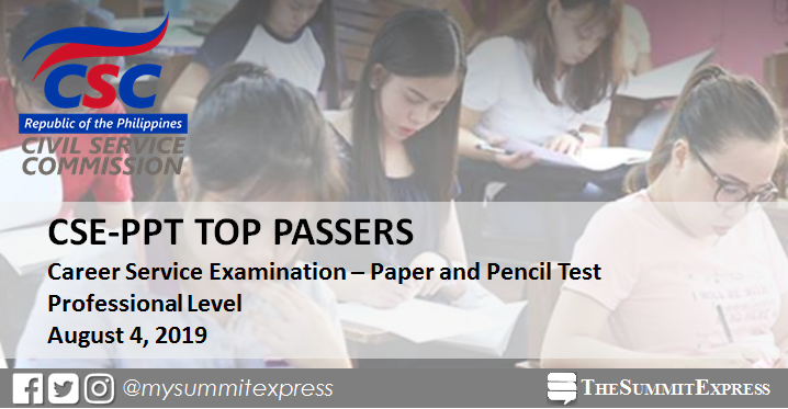 TOP 10 PASSERS: August 2019 Civil Service Exam Professional Level
