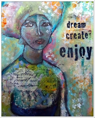 Image of woman art journal page with the words dream, create and enjoy